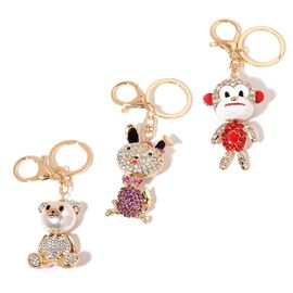 Set of 3 - White, Red and Multi Colour Austrian Crystal Monkey, Teddy and Rabbit Enameled Key Chain in Gold Tone