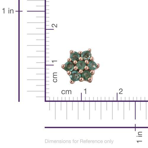 Kagem Zambian Emerald (Rnd) Floral Stud Earrings (with Push Back) in Rose Gold Overlay Sterling Silver 0.500 Ct.