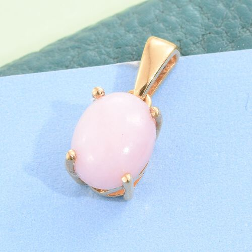 Natural Peruvian Pink Opal (Ovl) Solitaire Pendant in 14K Gold Overlay Sterling Silver 1.500 Ct.