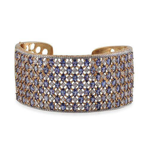 Tanzanite (Ovl), Natural Cambodian Zircon Cuff Bangle (Size 7.5) in 14K Gold Overlay Sterling Silver 29.750 Ct.