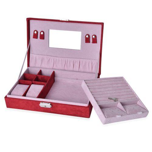 Red Colour Velvet Jewellery Box (Size 28x19x6.5 Cm)