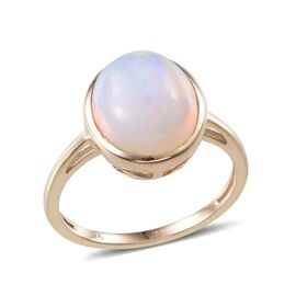 9K Y Gold Ethiopian Opal (Ovl 3.750Ct), Solitaire Ring 3.750  Ct.