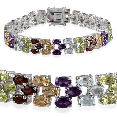Sky Blue Topaz (Ovl), Mozambique Garnet, Hebei Peridot, Citrine and Amethyst Bracelet (Size 7.5) in Platinum Overlay Sterling Silver 21.000 Ct.