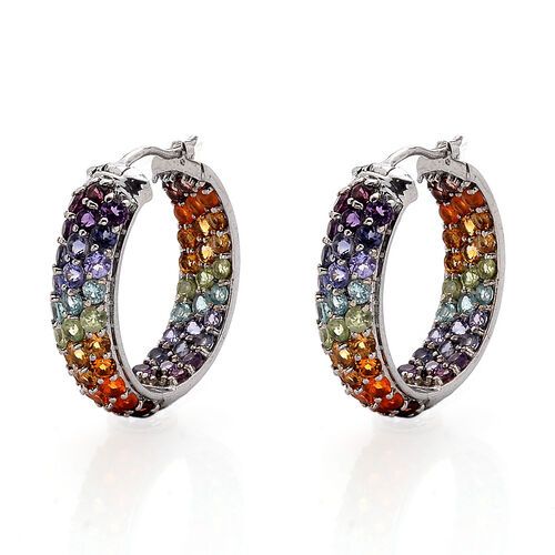 Multi Gem Stone Platinum Overlay Sterling Silver Earring 7.261 Ct.