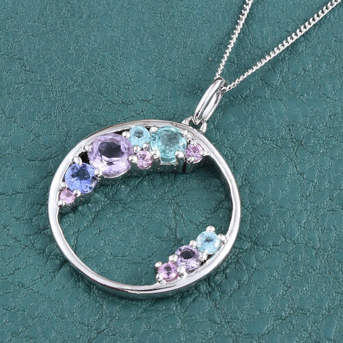 Kimberley Distant Shore Collection Rose De France Amethyst (Rnd), Paraibe Apatite, Tanzanite and Pink Sapphire Pendant with Chain in Platinum Overlay Sterling Silver
