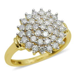 9K Yellow Gold SGL Certified Diamond (Rnd) (I3/G-H) Cluster Ring 1.000 Ct.