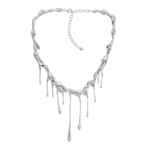 LucyQ Multi Drip Necklace (Size 17 with 3.5 inch Extender) in Rhodium Plated Sterling Silver 85.86 Gms.