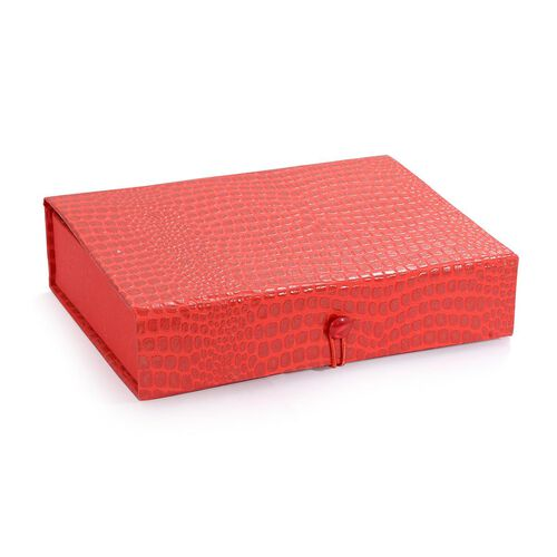 Croc Embossed Red Colour Foldable Handmade Paper Jewellery Box with Mirror Inside