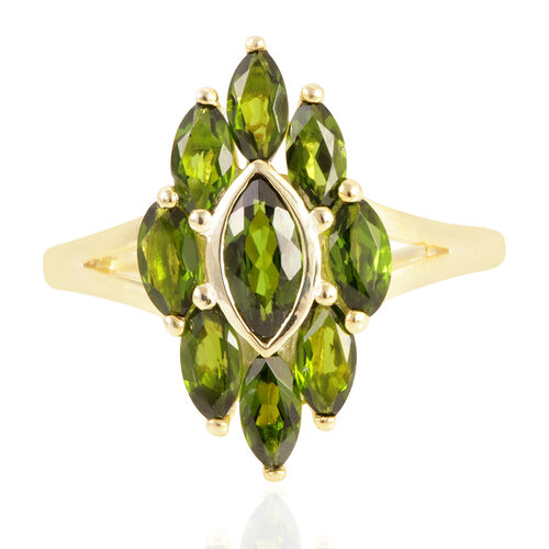Russian Diopside (Mrq 0.60 Ct) Ring in 14K Gold Overlay Sterling Silver 2.750 Ct.