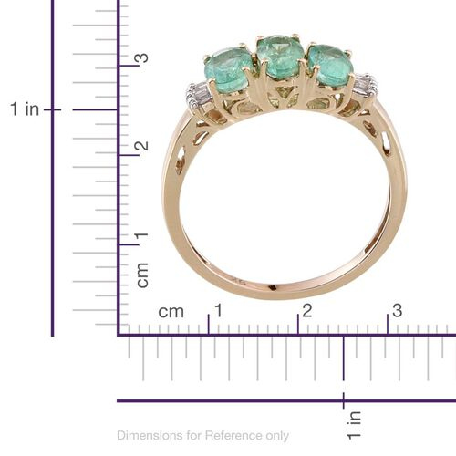 9K Y Gold Boyaca Colombian Emerald (Ovl), Diamond Ring 1.300 Ct.