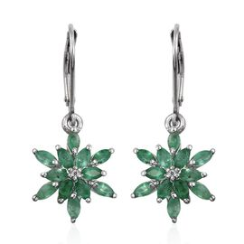 Kagem Zambian Emerald (Mrq), Natural Cambodian Zircon Floral Lever Back Earrings in Platinum Overlay Sterling Silver 1.750 Ct.