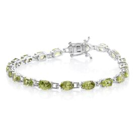Hebei Peridot (Ovl) Bracelet (Size 7) in Platinum Overlay Sterling Silver 9.500 Ct.