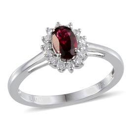 ILIANA 18K W Gold Ouro Fino Rubelite (Ovl 1.00 Ct), Diamond (SI/G-H) Ring 1.250 Ct.