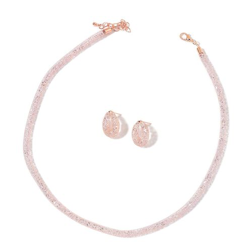 White Austrian Crystal Necklace (Size 18 with 2 inch Extender) and Stud Earrings (with Push Back) in Rose Gold Tone