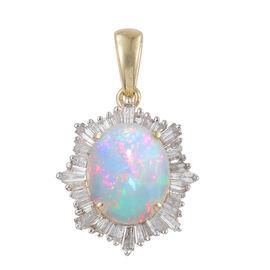 14K Y Gold AAA Ethiopian Welo Opal (Ovl 3.25 Ct), Diamond (I3/G-H) Pendant 4.000 Ct.