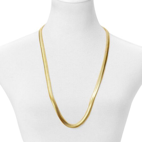 Yellow Gold Tone with Stainless Steel Flat Snake Chain Necklace (Size 30) and Bracelet (Size 8)