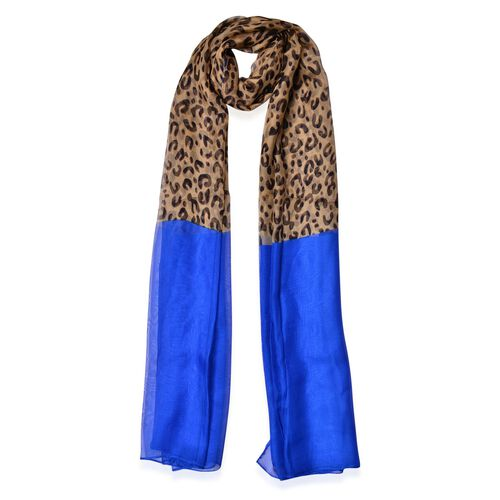 Black and Beige Colour Leopard Pattern Blue Colour Scarf (Size 190x108 Cm)