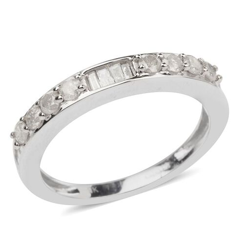 9K White Gold SGL Certified Diamond (Rnd) (I3/G-H) Half Eternity Ring 0.500 Ct.