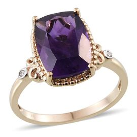 9K Y Gold Lusaka Amethyst (Cush 6.50 Ct), Diamond Ring 6.520 Ct.