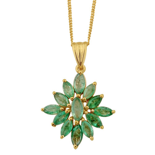 Kagem Zambian Emerald 14K Gold Overlay Sterling Silver Pendant With Chain 2.00 Ct.