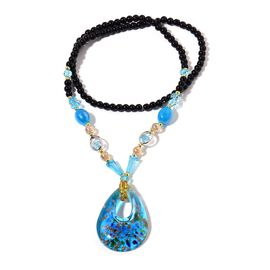 Sky Blue Colour Murano Glass and and Multi Colour Seed Beaded Necklace (Size 28)