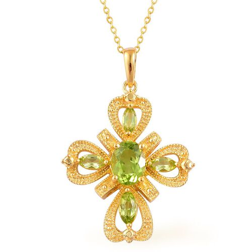 AA Hebei Peridot (Ovl 1.25 Ct) Cross Pendant With Chain in Yellow Gold Overlay Sterling Silver 1.900 Ct.