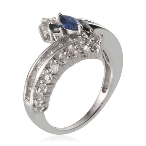 Kanchanaburi Blue Sapphire (Mrq), White Topaz Crossover Ring in Platinum Ovarlay Sterling Silver 2.500 Ct.
