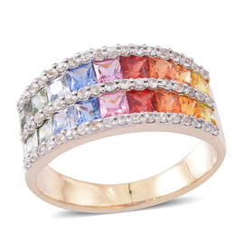 9K Y Gold AAA Rainbow Sapphire ( Princess Cut), Natural Cambodian Zircon Ring 3.500 Ct. Gold Wt. 4.25 Gms.