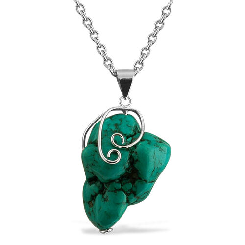 Mega Deal Turquoise (110.00 Ct) Stainless Steel Pendant With Chain
