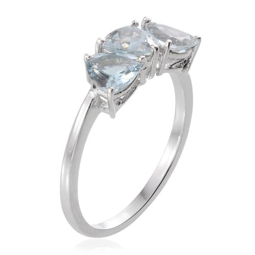 Espirito Santo Aquamarine (Trl) Trilogy Ring in Platinum Overlay Sterling Silver 1.650 Ct.