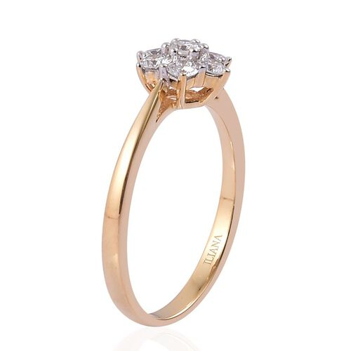 ILIANA 18K Y Gold IGI Certified Diamond (Rnd) (F-G/ SI) 7 Stone Floral Ring 0.500 Ct.