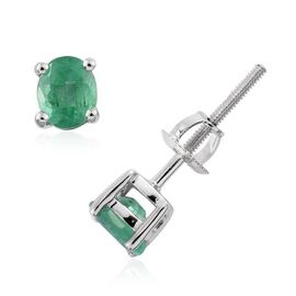 ILIANA 18K White Gold 0.75 Carat AAA Boyaca Colombian Emerald Oval Stud Earrings with Screw Back