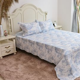 Limited Edition - Toile de Jouy Reversible Printed Quilt, Blue, (Size 260X240 Cm) and 2 Pillow Shams (Size 70X50+5 Cm)