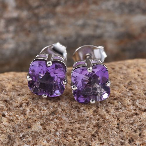 AA Lusaka Amethyst Stud Earrings (with Push Back) in Platinum Overlay Sterling Silver 2.750 Ct.
