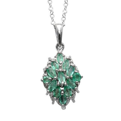 Limited Available Kagem Zambian Emerald and Diamond Platinum Overlay Sterling Silver Pendant With Chain  1.00  Ct.