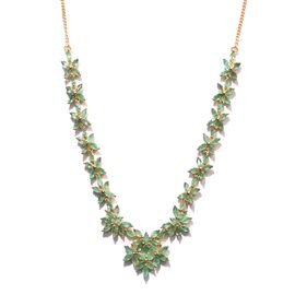 Kagem Zambian Emerald (Mrq) Necklace (Size 18) in 14K Gold Overlay Sterling Silver 12.000 Ct.