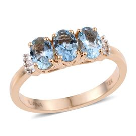 ILIANA 18K Yellow Gold 1.25 Carat AAA Santa Maria Aquamarine Oval Trilogy Ring with Diamond SI G-H.