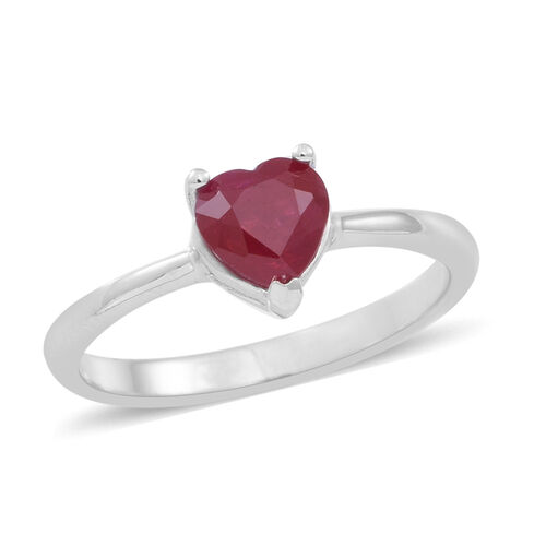 ILIANA 18K W Gold Burmese Ruby (Hrt) Solitaire Ring 1.000 Ct.