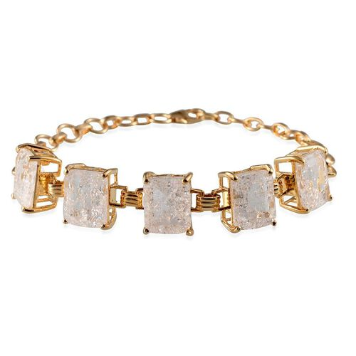 White Crackled Quartz (Oct) Bracelet in 14K Gold Overlay Sterling Silver (Size 7) 17.000 Ct.