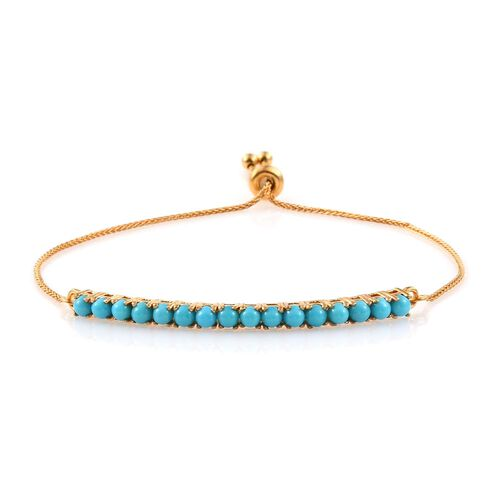 Arizona Sleeping Beauty Turquoise (Rnd) Adjustable Bracelet (Size 6.5 to 8.5) in 14K Gold Overlay Sterling Silver.