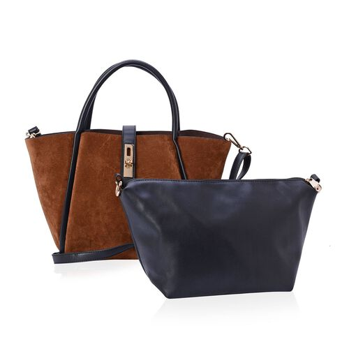 Set of 2 - Dark Tan Colour Tote Bag and Black Colour Crossbody Bag with Adjustable and Removable Shoulder Strap (Size 38x23.5x13.5 and 33x19x12 Cm)