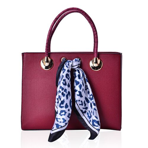 Ture Red Colour Large Tote Bag with External Zipper Pocket, Small Clutch and Blue Colour Leopard Pattern White Colour Scarf (Size 35x28x12 Cm, 27x13.5 Cm and 51x47 Cm)