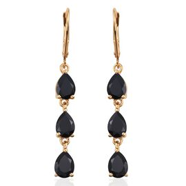 Boi Ploi Black Spinel (Pear) Lever Back Earrings in 14K Gold Overlay Sterling Silver 5.500 Ct.