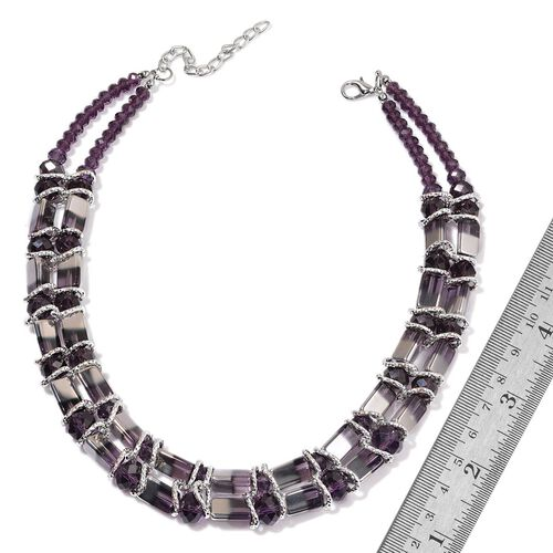 Purple and White Glass Necklace (Size 20 with Extender) in Silver Tone