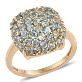 AA Natural Cambodian Blue Zircon (Rnd) Cluster Ring in 14K Gold Overlay Sterling Silver 4.000 Ct.