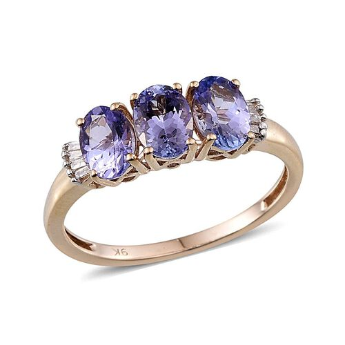 9K Y Gold Tanzanite (Ovl), Diamond Ring 1.900 Ct.