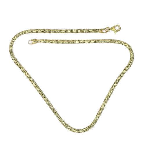 JCK Vegas 14K Gold Overlay Sterling Silver Snake Necklace (Size 18), Silver wt 21.80 Gms.
