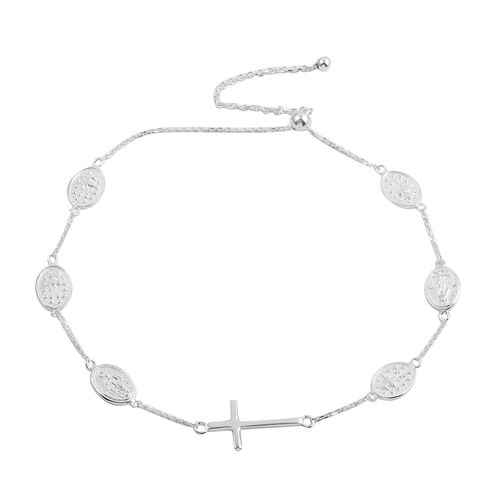 Designer Inspired JCK Vegas Collection Sterling Silver Cross Station Adjustable Bracelet (Size 9), Silver wt 3.50 Gms.
