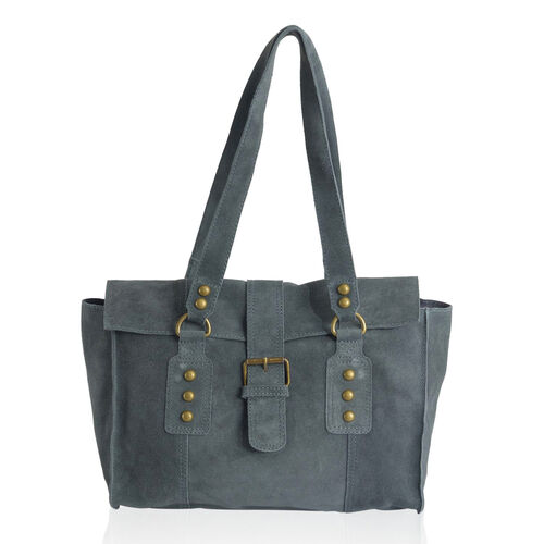 Genuine Leather Navy Colour Handbag with Flap Buckle Closure (Size 33x24 Cm)