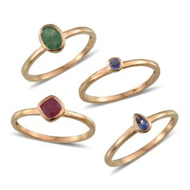 Set of 4 - African Ruby (Cush 1.00 Ct), Kagem Zambian Emerald and Tanzanite Solitaire Ring in 14K Gold Overlay Sterling Silver 2.000 Ct.